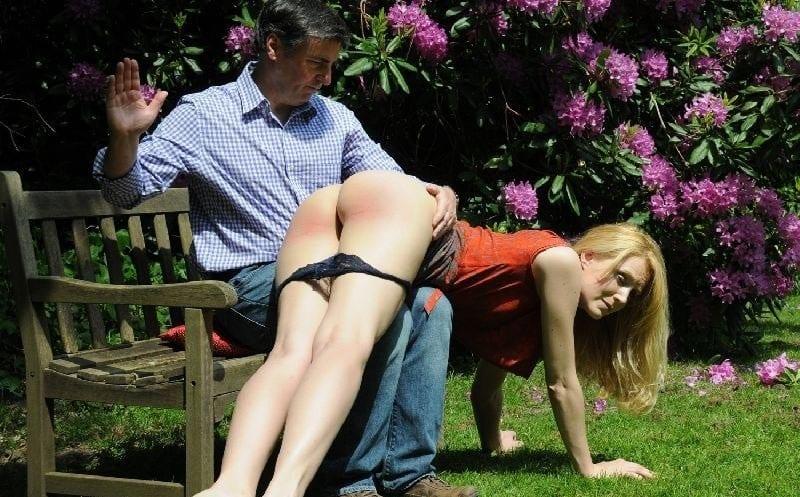 Park bench spank hardcore blonde